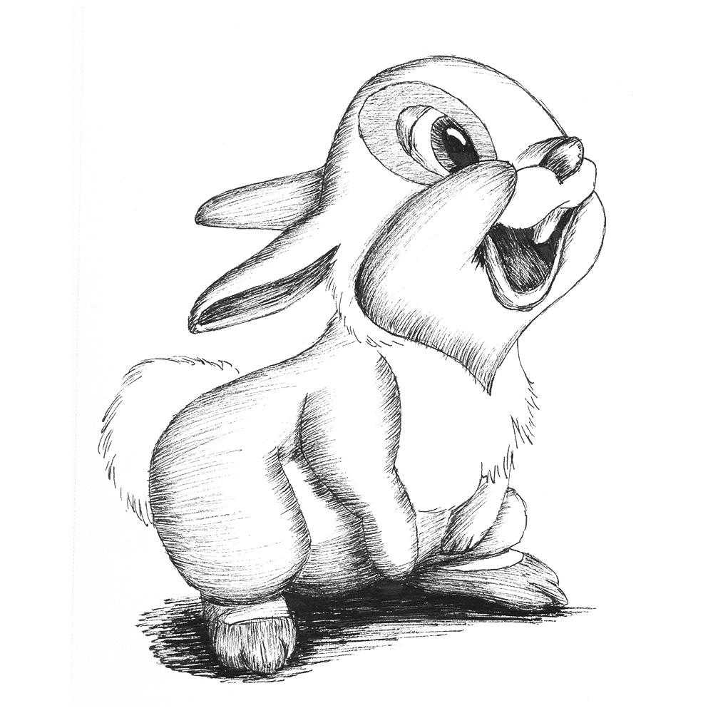rabbit sketch print u2013 geek stuff